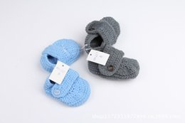 Wholesale Cute Crochet Boots - New Cute Baby Kids Knitted Candy Color Boots Bows First Walker Shoes Fleece Lining Candy Color Fall Winter Shoes