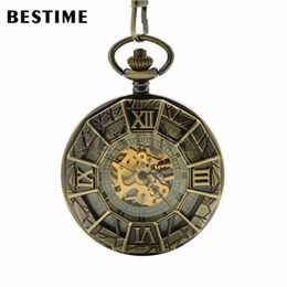 Wholesale BESTIME Watch Retro Bronze Hollow Spider man Skeleton Mechanical Roman Numerals Pocket Watch Mens Boys with Chain