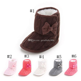 Wholesale Toddler Girls Fashion Boots - Kids Toddler winter Shoes infant Bow Cotton boots Girls boys Fashion Baby First Walkers C3156
