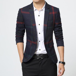 Wholesale Fit Suite - Wholesale- 2017 Spring Slim Fit Casual jacket Cotton Men Blazer Jacket Single Button Spell color stripe Mens Suit Jacket Coat Male Suite