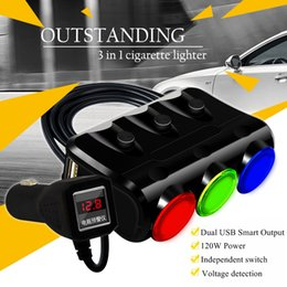 Wholesale Cheap Cigarette Lighters Wholesale - Cheap car universal multi-purpose vehicle one drag three cigarette lighter dual USB car charger a three-voltage detection