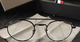 Wholesale Titanium Alloy Eyeglasses Frame - Men THom Round Sunglasses Black Eyeglasses UNISEX 2017 OPTIC READING GLASSES Brand Sunglasses Brand New with Box