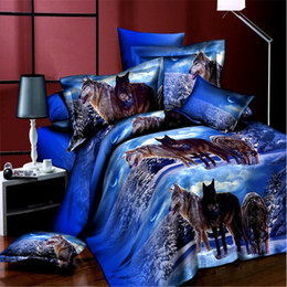 Wholesale Wolf Print Bedding Sets Queen - Wholesale- Home Textiles,night wolf style 3D bedding sets 4Pcs of duvet cover bed sheet pillowcase Queen size bedclothes