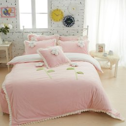 Wholesale Twin Size Ruffle Bedding - Wholesale-Thick Fleece Girls Bedding sets King Queen Twin Size Bedclothes Princess Bed skirt Duvet cover Decorative Cushion 4 5 6Pcs