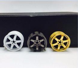 Wholesale Wheel Key Chains - Wholesale 2017 New Te37 Wheel Rim Car Tuning Keychain Keyring Real Fan Gift Luxury JDM KeyFob Alloy Key Chain