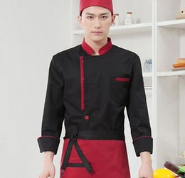 Wholesale Buttons Restaurant - Q228 Fashion Restaurant Kitchen Chef Jackets Coats Black Red White Uniform Double-Breasted Buttons Cook Clothes