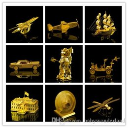 Wholesale Toy Wholesalers Sydney - World Famous Building Plane Ship 3D Metal Puzzles Gold London Tower Bridge Sydney Opera House Metal Earth Jigsaw Puzzle Price negotiable