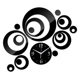 wholesale 2015 promotion acrylic mirror black silver quartz wall clocks real home decor 3d stickers - Wholesale Home Decor Suppliers