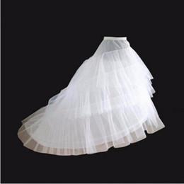 Wholesale Three Layer Wedding Dress - White High Low Petticoat For Wedding Dresses Long Tail Two Crinoline Three Layers Yarn Wedding Accessories Bridal Petticoats