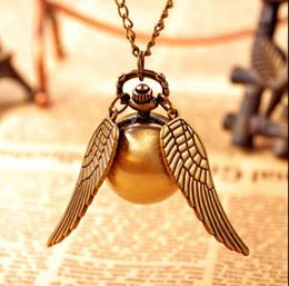 Wholesale Golden Chain Watches - Vintage Bronze Steampunk Harry potter Golden Snitch ball pocket watch necklace children pendant chain good quality