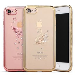 Wholesale Wholesale Bling Tops - For iphone 6 6 plus 7 plus Diomand Bling Ladies case Swan Pattern Fashionable Top Quality Clear TPU Case for iphone6 7 plus
