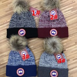 Wholesale Knit Fur Hats Women - wholesale embroidery unisex knitted wool Skullies casual cap with real raccoon fox fur for women men winter beanies brand Beanie Skull Caps