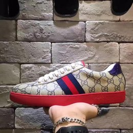 Wholesale Red Closed Toe Heels - 2017 Europe station new trend classic G print sport casual men's shoes red heel blue red mandarin duck size 38--44