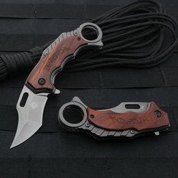 Wholesale Knife W Handle - Karambit Claw Knife Folding Training Hunting Knife Outdoor Survival Knife w Rosewood Handle Color Box Packaging 1PC Free Shipping