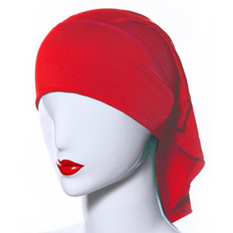 Wholesale underscarf headband - Wholesale- Fashion Women Soft Comfortable Inner Hijab Caps Islamic Underscarf Hats Hot