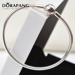 Wholesale Solid Sterling Charm Bracelet - DORAPANG 100% 925 Sterling Silver Authentic Bracelet Fit Original Bracelet Bangle or Charm Bead Charms Solid Beads 8030