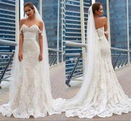 Wholesale Corset Dresses Cheap Black - 2018 Gorgeous Mermaid Lace Wedding Dresses Elegant Full Lace Appliques Corset Back Cheap Long Train Wedding Gowns Bridal Gowns
