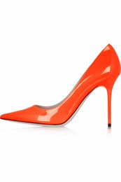 tacchi alti in vernice arancione Sconti Zandina Ladies Womens Handmade Fashion pelle verniciata a punta semplice 10cm tacco alto pompe scarpe arancione K432