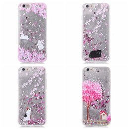 Wholesale plastic cherry blossoms - Luxury Flower Bling Diamond Glitter Liquid Hard Plastic+TPU Case For Iphone 7 Plus 6 6S Plus Sparkle Quicksand Cherry Blossoms Cover Skin