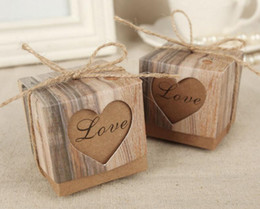 Wholesale Rustic Hearts Wholesale - 2017 Wedding Hearts in Love Rustic Kraft Imitation Bark Candy Box with Burlap Chic Vintage Twine Wedding Favor Gift Boxes