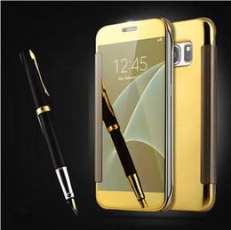 Canada Pour Samsung Galaxy S7 Edge Cas S5 De Luxe Smart Flip Slim View Miroir De Galvanoplastie Dur Clair Couverture Couverture Pour Galaxy Note 7 supplier smart cover for iphone Offre