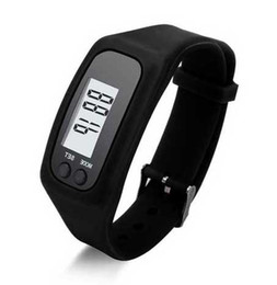 Wholesale Pedometer Running - Casual Digital LCD Pedometer run step walking distance calorie counter watch bracelet men women sports Led watches 10 colors