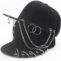 Wholesale G Dragon Red Snapback - 2017 Summer Punk Rock GD Children's Baseball Cap With Rings Metal Chain g dragon boys girls Hip Hop Snapback For Kids 48 to 53cm