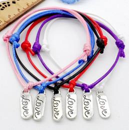 pulseras del cordón del amor Rebajas 100 unids / lote carta de amor cadena Lucky Red cera cordón ajustable pulsera NUEVA CALIENTE 6 colores
