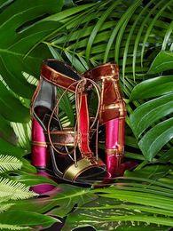 Wholesale Denim Pumps High Heel Shoes - Top Quality Celebrity Latest paneled velvet leather lace up gladiator sandals shoes Rome designed high heels cage sandals pumps
