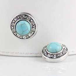 Wholesale Metal Ring Button - Wholesale-JACK88 NEW 10pcs lot Metal Snaps TURQUOISE Blue Crystal Ginger Snap Jewelry 18mm Button Fit Charm Bracelet Snaps Jewelry N839