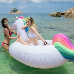 Wholesale Summer Floats - Inflatable Unicorn Water Toy Giant Floating Bed Raft Air Mattress 200cm Summer Holiday Water mounts C2431