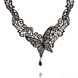 Wholesale Black Horn Necklace - Fashion Women Vintage Handmade Retro Gothic Black Lace Alloy Butterfly Choker Necklace Victorian Lace Short Necklace