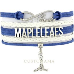 Wholesale Maple Leaf Charms Wholesale - Custom-Infinity Love Maple Leafs Hockey Bracelet Toronto Hockey Fans Blue White Wax & Leather Bracelet Custom Dropship