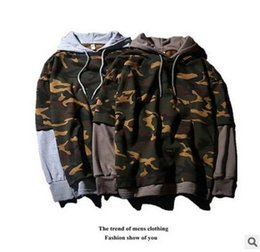 Wholesale Two Piece Men Suits - Spring Man Oversize Sport Wear camouflage False two-piece Cotton Hoodies Student Loose Casual Fashion Print Sweatshirt Gym Suit tops