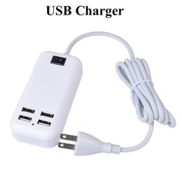 Wholesale Micro Usb Charger Wall Port - USB Power Adapter 15W USB Wall Charger 4 Ports Universal Charger Micro USB Charge Sync Dock Desktop USB Charger OTH313