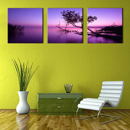 Wholesale Lake Sunset Canvas Art - 3 Picture Combination Canvas Painting Purple Wall Art Painting Sunset Lake On Canvas with Wooden Frame For Home Decor as Gifts