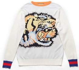 Wholesale Thin Head - Europe Italy Winter Tiger Head White Pullover Sweater Men Women Luxury Thick Wool Sweater