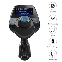 Wholesale Flac Mp3 - T10 Car Wireless MP3 FM Transmitter LCD Display Bluetooth V3.0+EDR Handsfree Kit Support U Disk FLAC TF Card Handsfree Calling in Retail Box