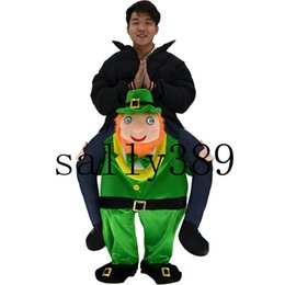 Wholesale Green Elf Costume - Mascot costume with my ride a green man green elves Christmas dress funny costumes