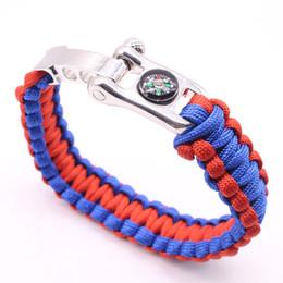 Wholesale Handmade Paracord Bracelets - Outdoor Survival Bracelet Handmade Paracord Braided Bracelets With Compass Function Bracelets Adjustable U Buckles Camping Bracelet