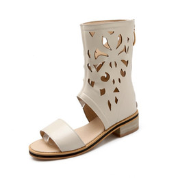Wholesale Leather Covered Belt Buckles - Gladiator Women Flat Sandals High Top Hollow sandals Zipper One Word Belt Solid Casual Shoes Student shoes Plus size 34-43