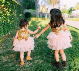 Wholesale Wedding Dress Sparkle Ball Gown - Cute Sparkling Flower Girl Dresses Gold Sequined Bow Cheap Baby Wedding Party Dress Little Girls Knee Length Sleeveless Short Pageant Gowns