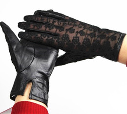 Wholesale Wholesale Leather Gloves Ladies - Wholesale- 2017 Top Fashion Leather Gloves Female Gloves Leather Ladies Thin Sheepskin Embroidery Lace No Lining Spring And Summer Driving