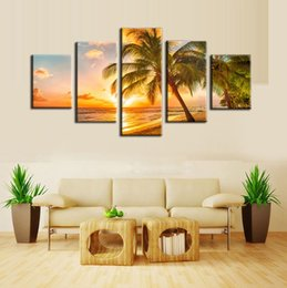 Wholesale Canvas Picture Beach - 5 piece custom tropical beach palm tree painting canvas printing for Modern home