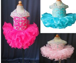 Wholesale Infant Toddler Glitz Pageant Dresses - Wholesale New 2017 Gorgeous Baby Girls Glitz Crystal Beaded Pageant Cupcake Gowns Infant Mini Skirts Toddler Girls Ruffles Pageant Dress