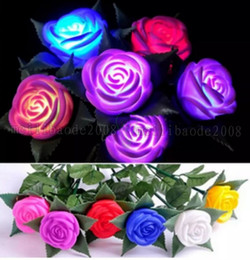 Wholesale Led Valentines Roses - 6 color Wedding LED Rose Flower Night Light toy LED Flower valentine gift Rose electronic LED Light Rose Wedding decoration MYY