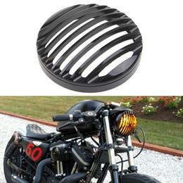 "Wholesale Black Headlight Cover - Hot Black 5 3 4"" Aluminum Motorcycle Headlight Grill Cover for 2004-2014 Harley Sportster XL 883 1200 MOT_20F"