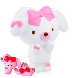 Wholesale Pink Roses For Gift - 12CM Cartoon Rabbit Squishy Slow Rising Kawaii Pink White Bunny Doll Cute Phone Straps Pendant Cream Scented Bread Kids Toy Gift