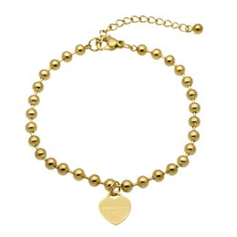 Wholesale Rose Gold Color Beads - New Fashion Women Party Jewelry Lover Heart Pendant Rose Gold Color Stainless Steel Bracelet Bead Chain Woman Bracelets Bangles