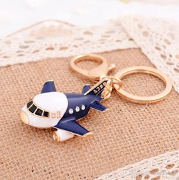 Wholesale Wholesale Airplane Keychains - Crystal airplane key chain lovely rhinestone enamel plane toy keychains for boy girl factory sale fashion bag pendant charms